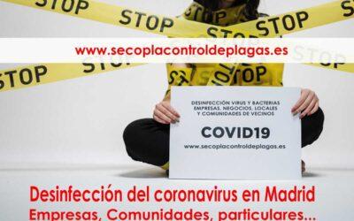 Coronavirus Empresa de desinfección del Covid-19 en Madrid en Comunidades, Empresas, Colegios, sitios Públicos o Privados